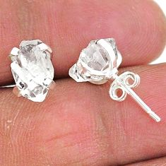 5.24cts natural white herkimer diamond 925 sterling silver stud earrings t6889