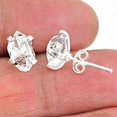 4.56cts natural white herkimer diamond 925 sterling silver stud earrings t6890