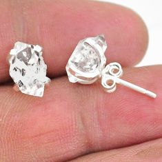 5.77cts natural white herkimer diamond 925 sterling silver stud earrings t6892