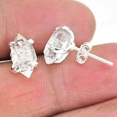 5.29cts natural white herkimer diamond 925 sterling silver stud earrings t6893