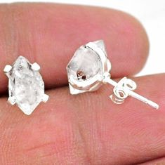 4.73cts natural white herkimer diamond 925 sterling silver stud earrings t6894