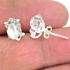 5.29cts natural white herkimer diamond 925 sterling silver stud earrings t6895