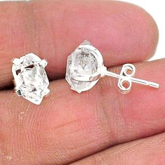 5.24cts natural white herkimer diamond 925 sterling silver stud earrings t6897