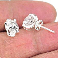 5.24cts natural white herkimer diamond 925 sterling silver stud earrings t6899