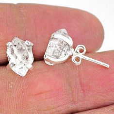 5.68cts natural white herkimer diamond 925 sterling silver stud earrings t6901