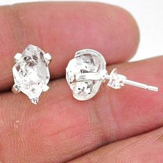 6.27cts natural white herkimer diamond 925 sterling silver stud earrings t6902