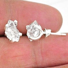 5.29cts natural white herkimer diamond 925 sterling silver stud earrings t6903