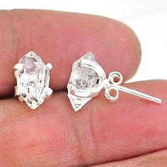 4.73cts natural white herkimer diamond 925 sterling silver stud earrings t6905