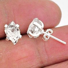 5.15cts natural white herkimer diamond 925 sterling silver stud earrings t6906