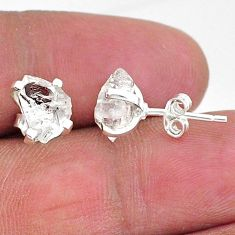 5.29cts natural white herkimer diamond 925 sterling silver stud earrings t6907