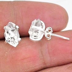 5.68cts natural white herkimer diamond 925 sterling silver stud earrings t6909
