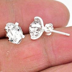 5.29cts natural white herkimer diamond 925 sterling silver stud earrings t6910