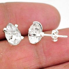 5.24cts natural white herkimer diamond 925 sterling silver stud earrings t6911