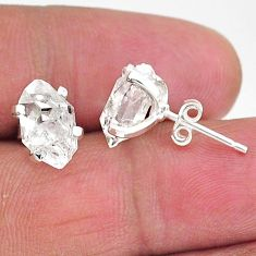 6.41cts natural white herkimer diamond 925 sterling silver stud earrings t6914