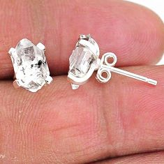 5.29cts natural white herkimer diamond 925 sterling silver stud earrings t6915