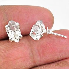 5.82cts natural white herkimer diamond 925 sterling silver stud earrings t6916