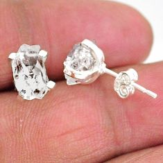 5.12cts natural white herkimer diamond 925 sterling silver stud earrings t6918