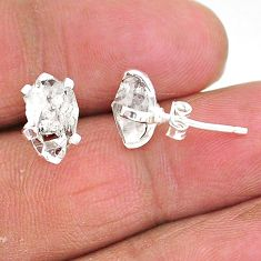 5.68cts natural white herkimer diamond 925 sterling silver stud earrings t6919