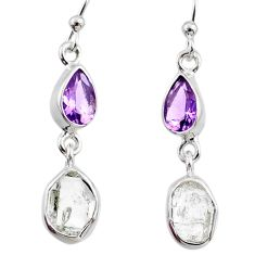 9.31cts natural white herkimer diamond amethyst 925 silver earrings r65710
