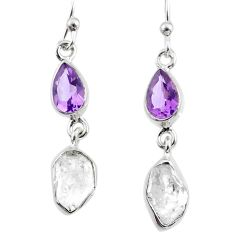 9.87cts natural white herkimer diamond amethyst 925 silver earrings r65711