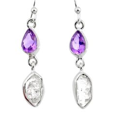9.87cts natural white herkimer diamond amethyst 925 silver earrings r65717