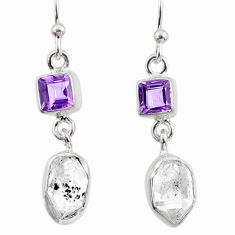 9.84cts natural white herkimer diamond amethyst 925 silver earrings r65718