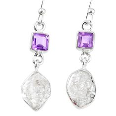11.25cts natural white herkimer diamond amethyst 925 silver earrings r69524