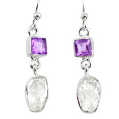 9.71cts natural white herkimer diamond amethyst silver dangle earrings r65715