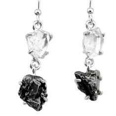 18.98cts natural white herkimer diamond campo del cielo silver earrings r73547