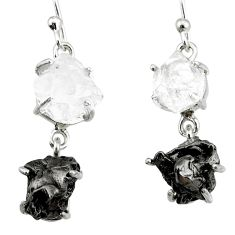 20.76cts natural white herkimer diamond campo del cielo silver earrings r73553