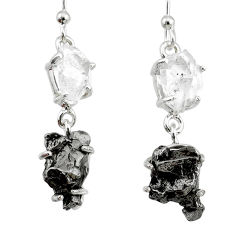 18.60cts natural white herkimer diamond campo del cielo silver earrings r73555