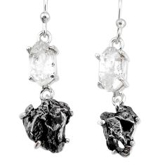 19.60cts natural white herkimer diamond campo del cielo silver earrings r73640