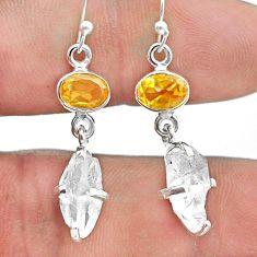 9.77cts natural white herkimer diamond citrine 925 silver dangle earrings t49814