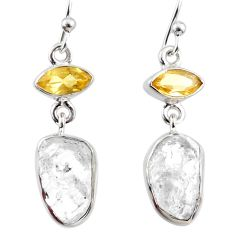 11.68cts natural white herkimer diamond citrine 925 silver earrings r65706