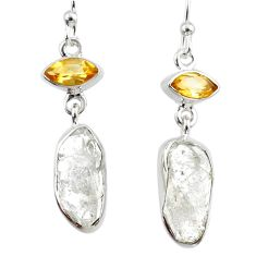 12.63cts natural white herkimer diamond citrine 925 silver earrings r65712