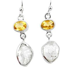 12.05cts natural white herkimer diamond citrine 925 silver earrings r65713