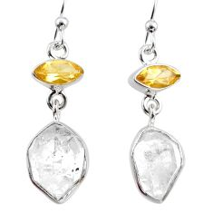 12.60cts natural white herkimer diamond citrine 925 silver earrings r65720