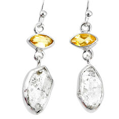 10.69cts natural white herkimer diamond citrine 925 silver earrings r69548