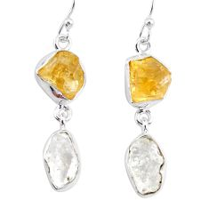 12.60cts natural white herkimer diamond citrine raw 925 silver earrings r93674