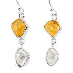 11.25cts natural white herkimer diamond citrine raw 925 silver earrings r93675