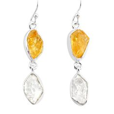 12.63cts natural white herkimer diamond citrine raw 925 silver earrings r93676