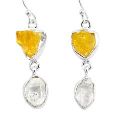 12.10cts natural white herkimer diamond citrine raw 925 silver earrings r93678