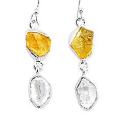 12.10cts natural white herkimer diamond citrine raw 925 silver earrings r93687
