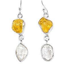 11.25cts natural white herkimer diamond citrine raw silver earrings r93683