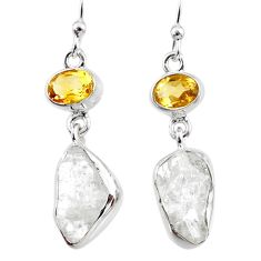 12.63cts natural white herkimer diamond citrine silver dangle earrings r65704