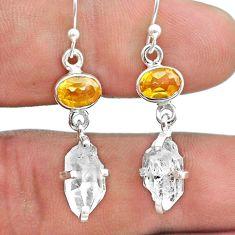 10.50cts natural white herkimer diamond citrine silver dangle earrings t49806