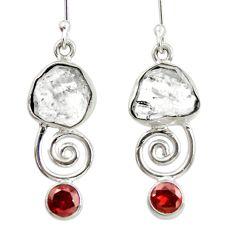 12.52cts natural white herkimer diamond garnet 925 silver dangle earrings d40333