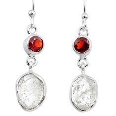 11.71cts natural white herkimer diamond garnet 925 silver dangle earrings r65674