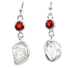 10.33cts natural white herkimer diamond garnet 925 silver dangle earrings r65676