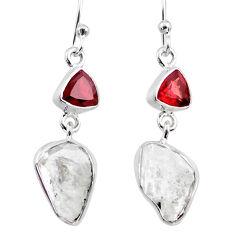 11.57cts natural white herkimer diamond garnet 925 silver dangle earrings r65677